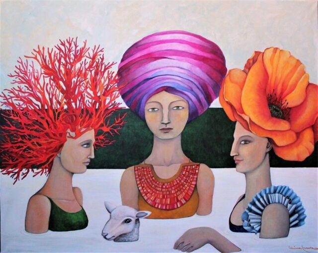 Milk-surrealist_painting-magic_realism-women-sea_of_milk-lamb-fertility-thermal_baths-swimming-milk_bath-flowers-corals-serenity