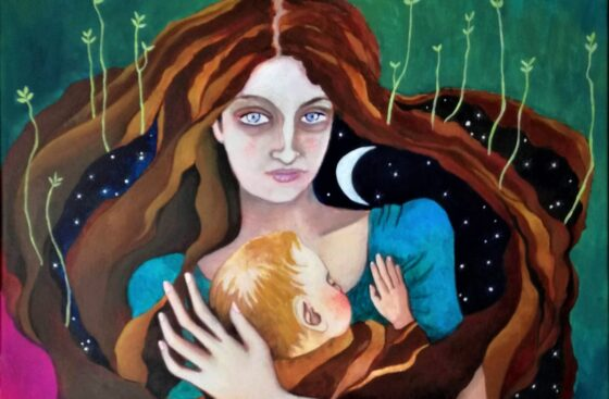 Night-surrealist_painting-mother_and_baby-new-mother-fatigue-love_for_children