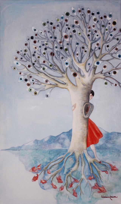 Surrealist-painting-eyes,perceptions-woman-tree-symbosis,roots,goldfish,hiding-perceiving-emotions-shyness