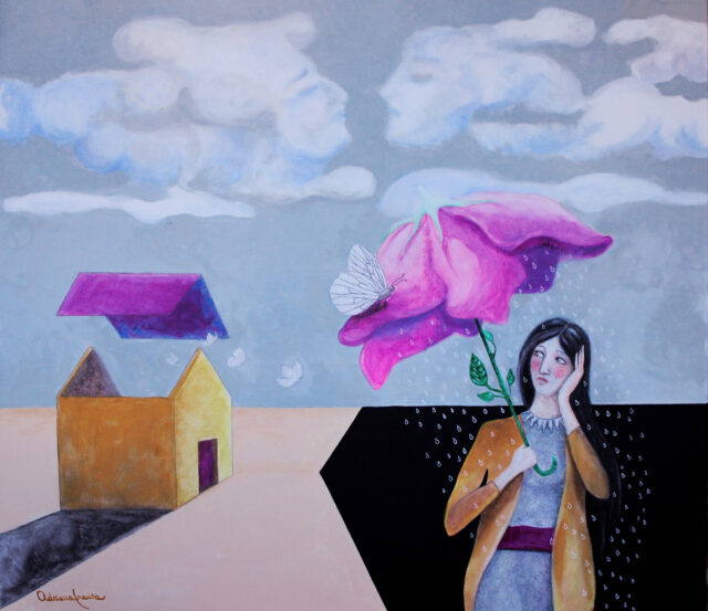 surrealist-painting-rain-clouds-roofless-house-umbrella-woman-melancholy-anthropomorphic-clouds-impossible-kiss-painting