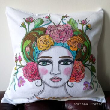 hand_painted_cushion-woman_head-grottesque-vienna-jugendstil-spring_flowers-roses-art_nouveau-hand_painted-unique_gift-home_decor-sicily-austria-original_pillow_case