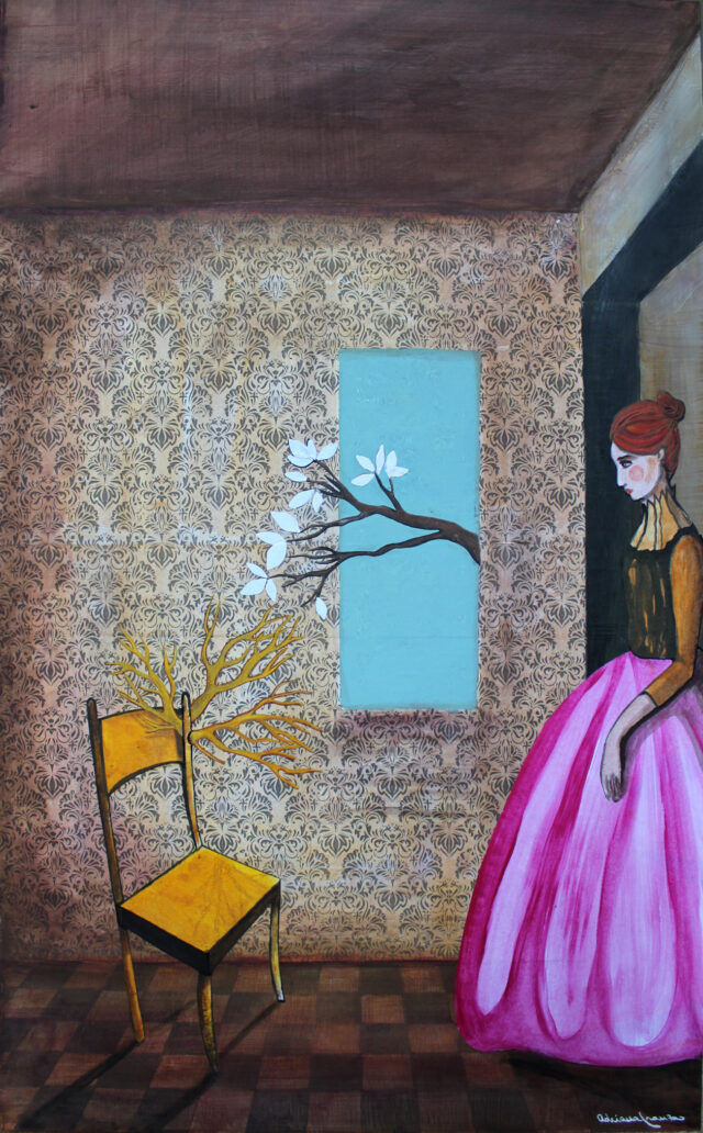 springtime-surrealist-painting-woman-sprouted-chair-new-life-yellow-chair-vintage-style