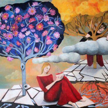 surrealist_painting-poetry-30s-lovestory-tree_ blue-flowers_of lotus-rebirth-ginko_biloba-cretto_di_burri-rafts-scattered_clouds-roots-antonia_pozzi