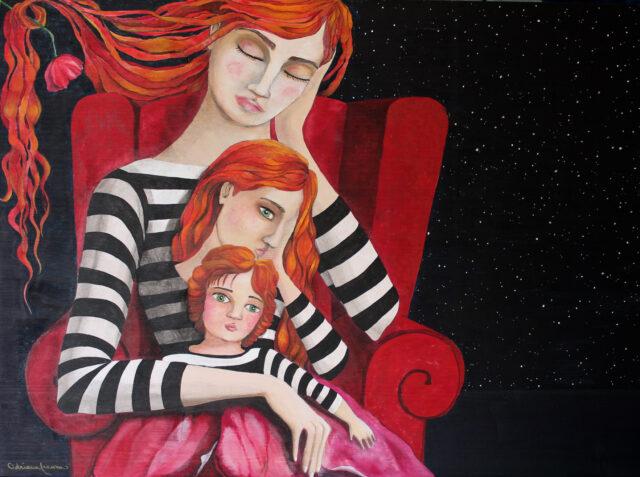 surreal_painting-dreamy-fairytale_atmosphere-woman_sleeping-red_armchair-night-poppy-opium-the_big_sleep-interpretation_of_dreams-painting_on_wood-striped_t-shirt