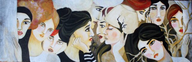 woman faces- ochra-brown-colors-painting