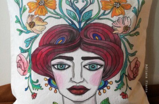 hand_painted_cushion-modern_moor_head-grottesque-vienna-jugendstil-flowers-hand_painted-unique_gift-home_decor-sicily-austria-original_pillow_case