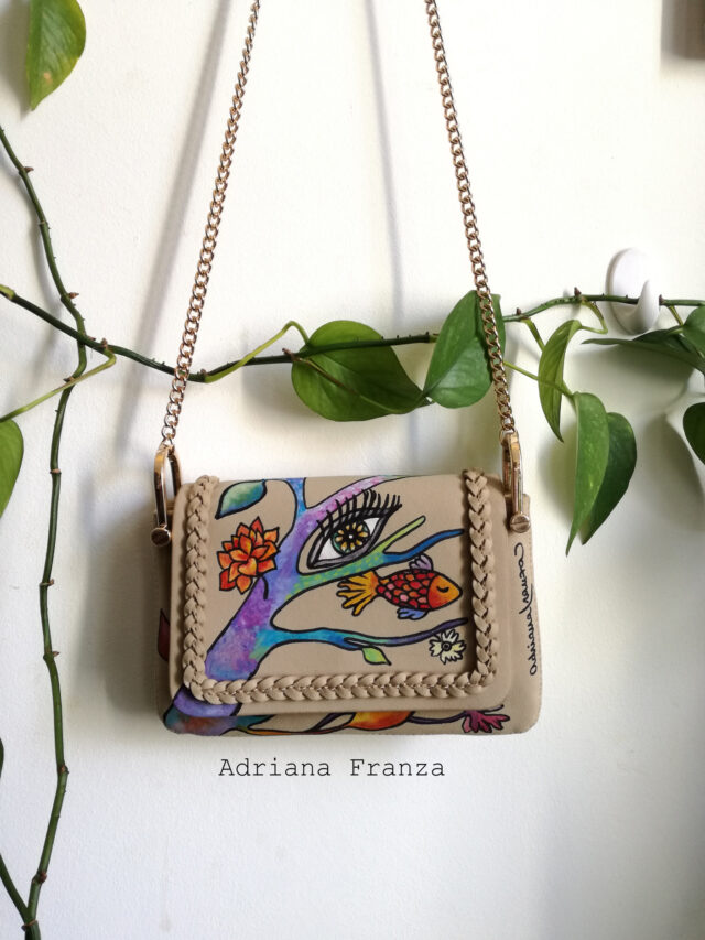 hand_painted-bag-faux_leather_suede_effect.unique_cross_body_bag__and_golden-metal-removable_shoulder_strap-fish-eye-tree-flowers-multicolor-spring