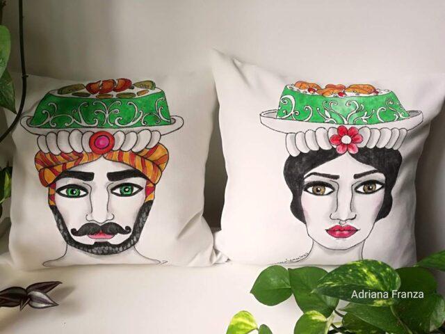 hand_painted_cushions-modern_moor_heads-turban-cassata-palermo-hand_painted-unique_gift-home_decor-sicily-original_pillow_cases- noto-sicilian_art_souvenir