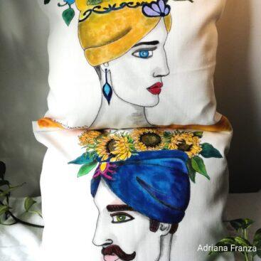 hand_painted_cushions-modern_moor_heads-turban-sunflowers-blue-yellow-hand_painted-unique_gift-home_decor-sicily-original_pillow_cases- noto-sicilian_art_souvenir
