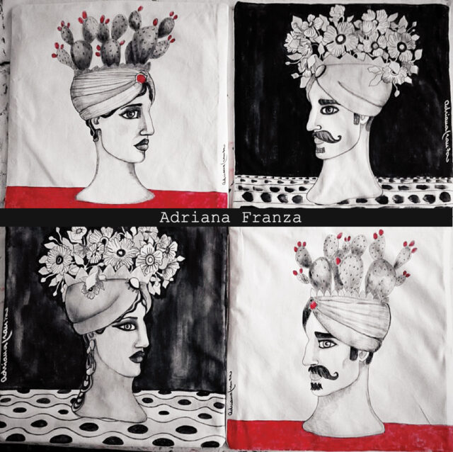 hand-painted_cushions_white_and_black-red-sicilian-heads-vases-sicily-moor's_heads-souvenirs_sicilians-cushions_painted_ by_hand-homedecor_design-majolica-graphic-modern-prickly pears