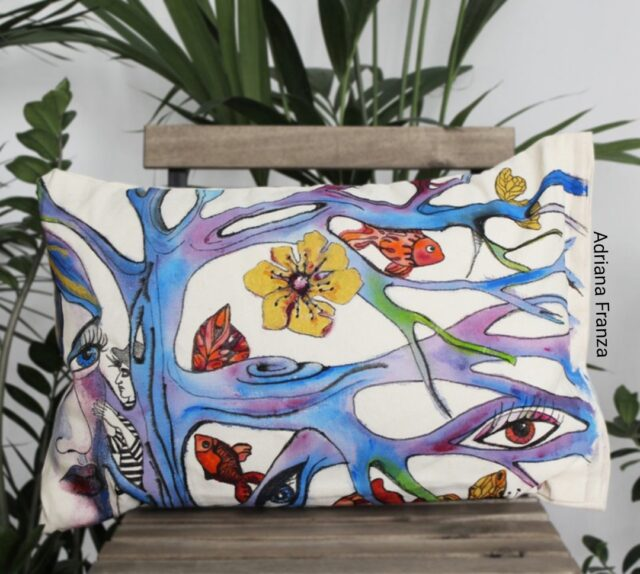 hand-painted_cushion-single-piece_homedecor__multicolor-symbolist-fairy tale-autumn-nature-eyes-magic_spell-love_story-trees-ramage-whimsical-gift