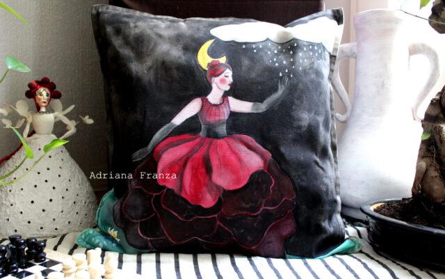 unique_pillow_case-red-black-symbolism-magic-energy-surrealism-hand_painted_cushion-unique_gift-home_design-moon-ballerina-rain