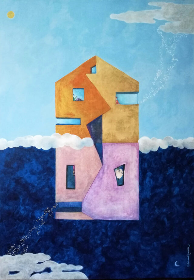Painting-antipodes,opposites, architecture,flying-house-deconstructivism