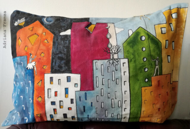 original_whimsical_cushion-day_night-male_female-dark_light-sun_moon-colorful_ houses-skyscrapers_ vivid-colors-pillow_unique-gift_home_decor-hand_painted_pillow-one_of_a_kind