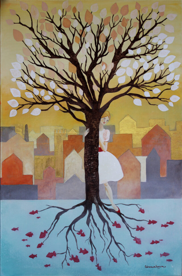 fairy-tale-dreamy-symbolic-symbiosis-woman-and-painted-tree-warm colors-ocher-yellow-autumn-urban-landscape-red-shoe-goldfish