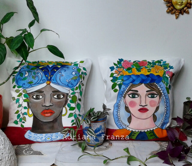 original_cushions_head_vases-sicilian-folklore_sicilian_heads_ of ceramic-flower_holders_sicily_arabian_traditions_sicilian_moorish_heads_turkish_heads-ancient_legends_lovers_of_palermo-artistic_souvenirs_sicilian-cushions_hand_painted-homedecor_design_white_and_blue-unique-gift