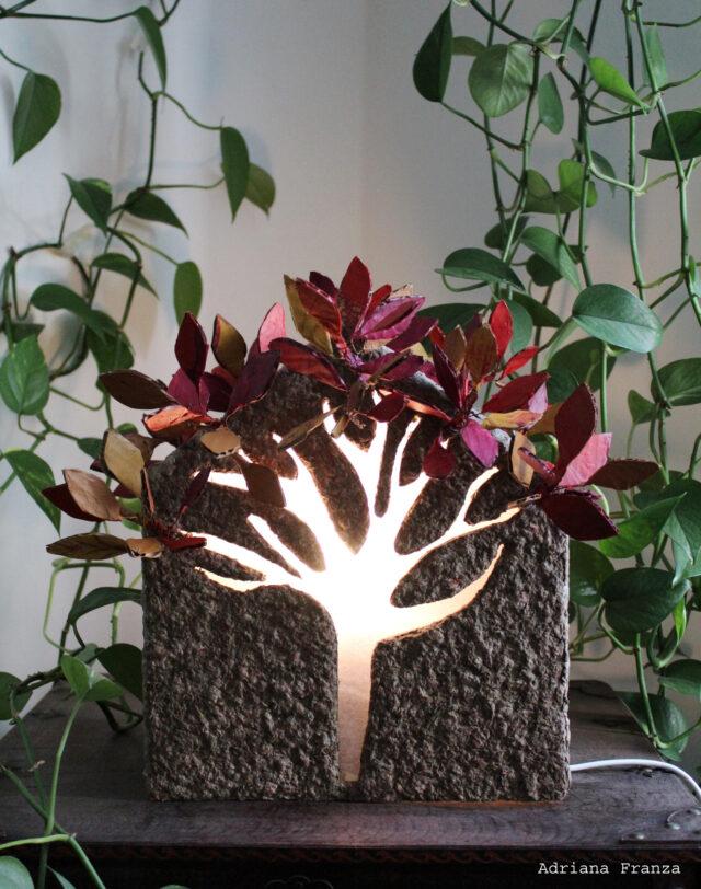 ecodesign-sculpture_lamp-papier-mâché-mood_light-unique_table_lamp-love-design_gift-architecture-small_house-paper_mache-decorative-sicilian-handicraft-one_of_a_kind-whitewashed-house-leaves-tree-autumn_colors-unique_gift
