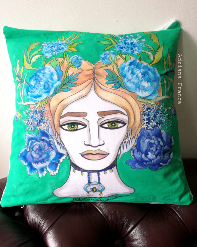 fioriblu-cuscino-dipinto-verde-peonie