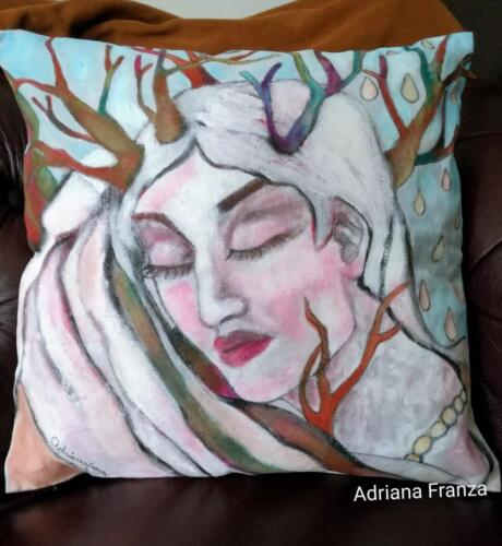 Winter -hand-painted cushion